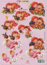 Art coupure 3d-kuvat lapsukaiset ja eläimet