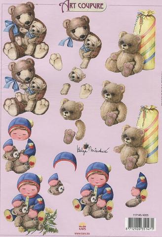 Art coupure 3d-kuvat poika ja nallet