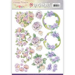 Jeanine´s Art stanssatut 3d-kuvat Vintage Flowers 236