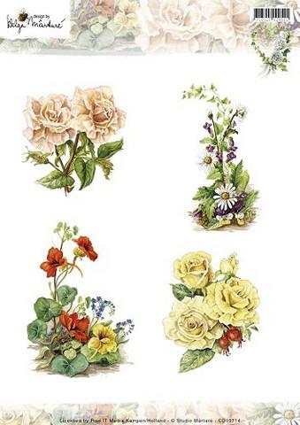 Korttikuvat Martare erilaisia kukkia