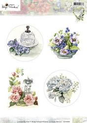 Korttikuvat Martare erilaisia kukkia mm. ympyrässä