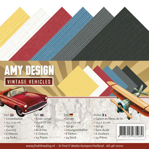 Tekstuuri korttikartongit Amy Design Vintage Vehicles 13,5x27
