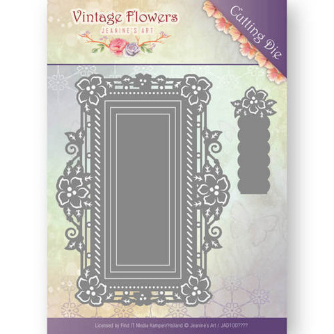 Jeanine´s Art stanssi Vintage Flower Floral Rectangle