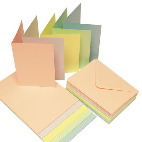 Craft UK A6 korttipohjat ja kuoret pastellit 50kpl