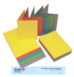 Craft UK A6 korttipohjat ja kuoret kirkkaat 50kpl