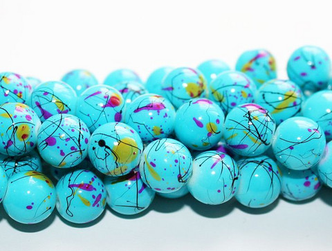 Roiskelasihelmet pyöreä sininen 10mm 80cm