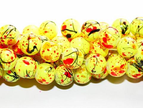 Roiskelasihelmet pyöreä keltainen 8mm 80cm