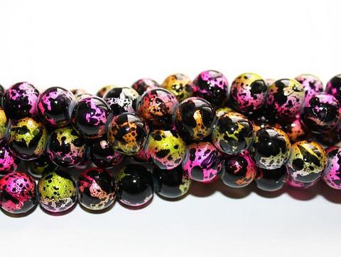 Roiskelasihelmet pyöreä musta-pinkkimix 8mm 80cm