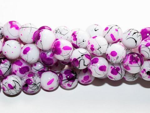 Roiskelasihelmet pyöreä valko-lila 8mm 80cm