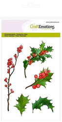 CraftEmotions leimasimet A6 berry twigs and holly leaves