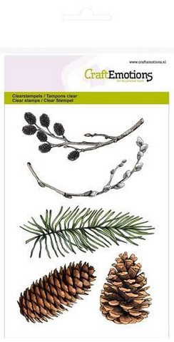CraftEmotions leimasimet A6 pine branch, willow catkins
