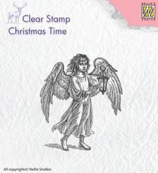 Nellie Choise leimasin Christmas time Angel with lantern