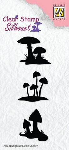 Nellie Choise leimasin Silhouette mushrooms SIL034