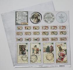 Reprint paperi Vintage Christmas Labels 12x12