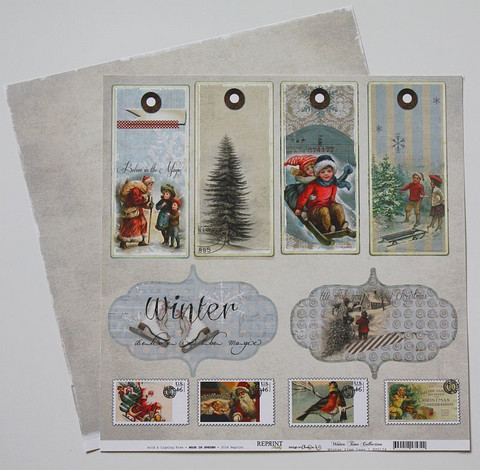 Reprint paperi Winter Time tags 12x12