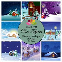 Dixi Craft korttikuvat joulumaisemat värillinen et0255