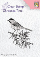 Nellie Choise leimasin Christmas time Conifer branch with bird