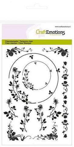 CraftEmotions leimasetti A6 ornaments border rose