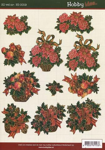 Hobbyidee 3d-kuva punaiset joulukukkakorit a4