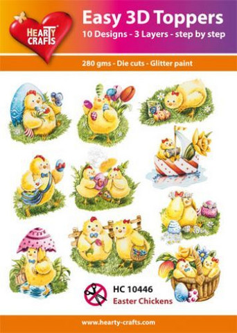 Hearty Crafts stanssatut 3d-kuvat Easter Chickens