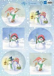 Marianne design korttikuvat Hetty´s snowmen hk1705
