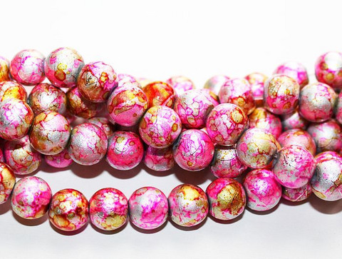 Roiskelasihelmet pyöreä pinkki/kulta/hopea mix 8mm 80cm