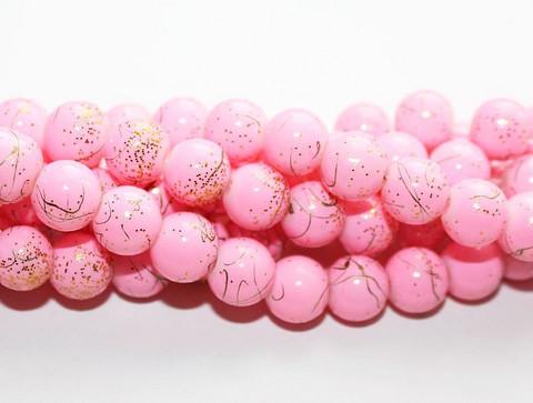 Roiskelasihelmet pyöreä vaaleanpunainen kultaroiske 8mm 80cm