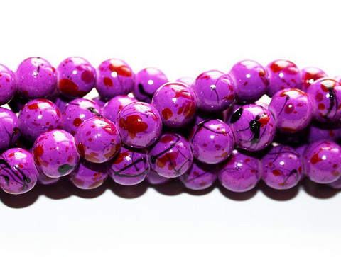 Roiskelasihelmet pyöreä tumma lila roiskeilla 8mm 80cm