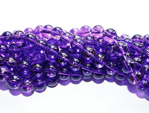 Roiskelasihelmet pyöreä violetti kultaroiskeilla 8mm 80cm