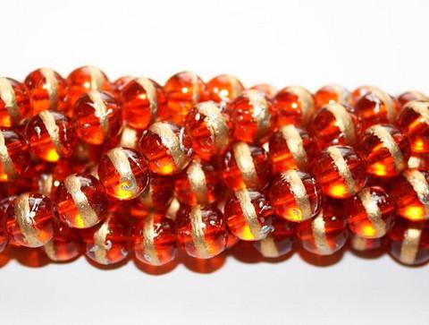 Pyöreä lasihelmi oranssi kultaraita 8mm 80cm