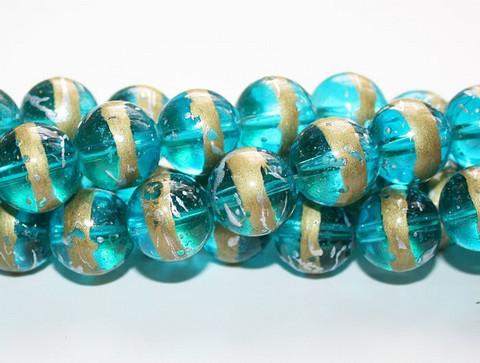 Pyöreä lasihelmi sinivihreä kultaraita 14mm 80cm