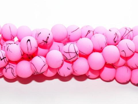 Silikonilasihelmi vaaleanpunainen roiskeilla 8mm 80cm