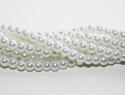 Helmiäislasihelmi valkoinen 6mm 80cm