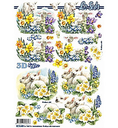 Lesuh 3d-kuvat lampaat ja kevätkukat a4