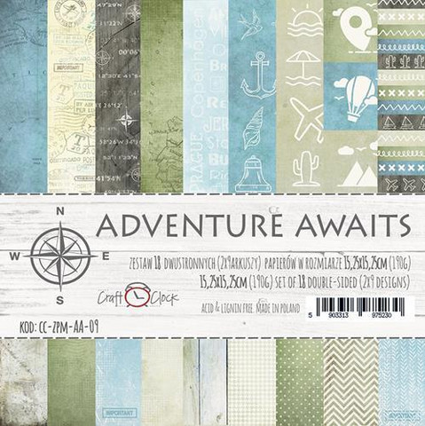 Craft O´ Clock Adventure Awaits paperilehtiö 15,2x15,2cm
