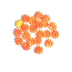 Kiiltäväpintaiset kangaskukat oranssi 20kpl