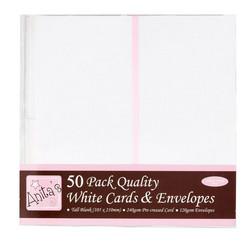 Korkeat korttipohjat ja kuoret valkoinen 50kpl Anita´s