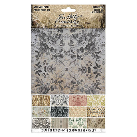 Idea-ology Tim Holtz Worn Wallpaper 5x8 Halloween paperisetti TH93974