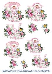 BD 3d-kuva nätit tyttövauvat ja kukat 067775