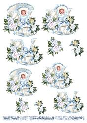 BD 3d-kuva nätit poikavauvat ja kukat 067774