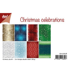 Joy Craft Christmas Celebration paperisetti 12kpl a4