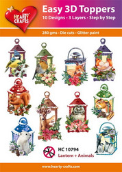 Hearty Crafts stanssatut 3d-kuvat Lantern + animals