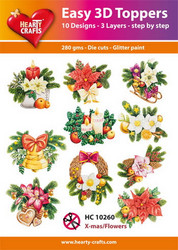 Hearty Crafts stanssatut 3d-kuvat X-mas/Flowers