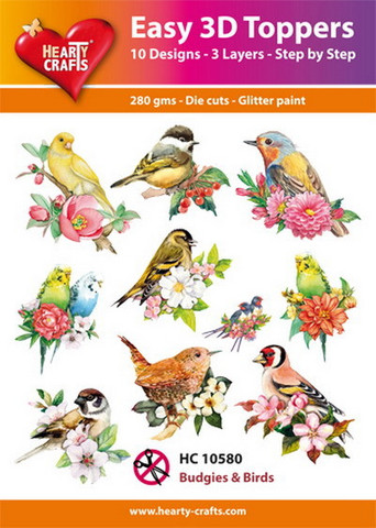 Hearty Crafts stanssatut 3d-kuvat linnut Budgies & Birds