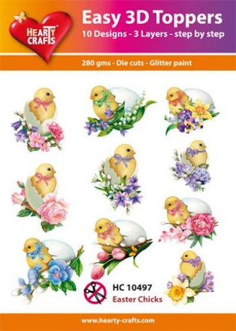 Hearty Crafts stanssatut 3d-kuvat Easter Chicks