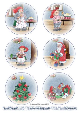 Joulukorttikuvat tontut, pukki ja joulukuusi a4