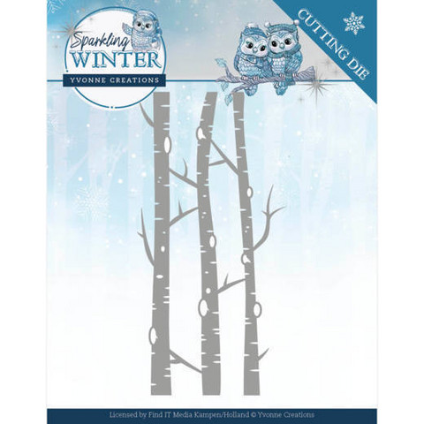 Yvonne Creations stanssi Sparkling Winter Birch Trees