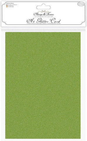 Craft Consortium kimallekartonki A4 Moss Green 10kpl  (AFGCRD012)
