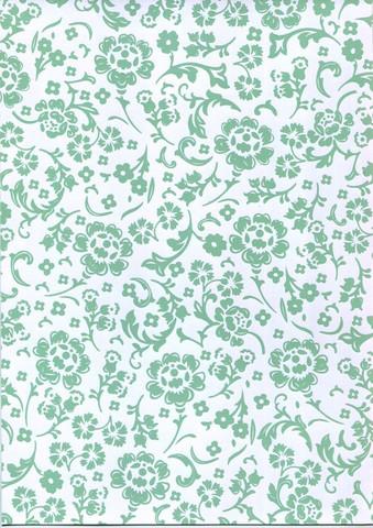 Kuviopaperi helmiäishohtoiset kukat minttu a4/2kpl