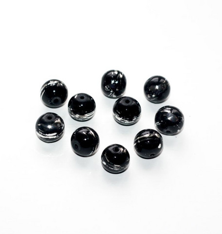 Pyöreät lasihelmet musta hopea raidoilla 10mm 10kpl